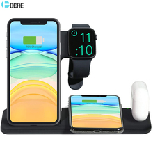 DCAE Wireless Charger Station 4 in 1 Foldable Stand 15W Qi Fast Charging Dock for Apple Watch 5 4 3 2 Airpods Pro iPhone 11 XS 8