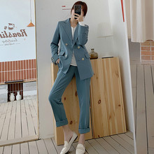 Mozuleva Chic Blue Women Pant Suit Double-breasted Jacket & Pencil Pant Women Bl