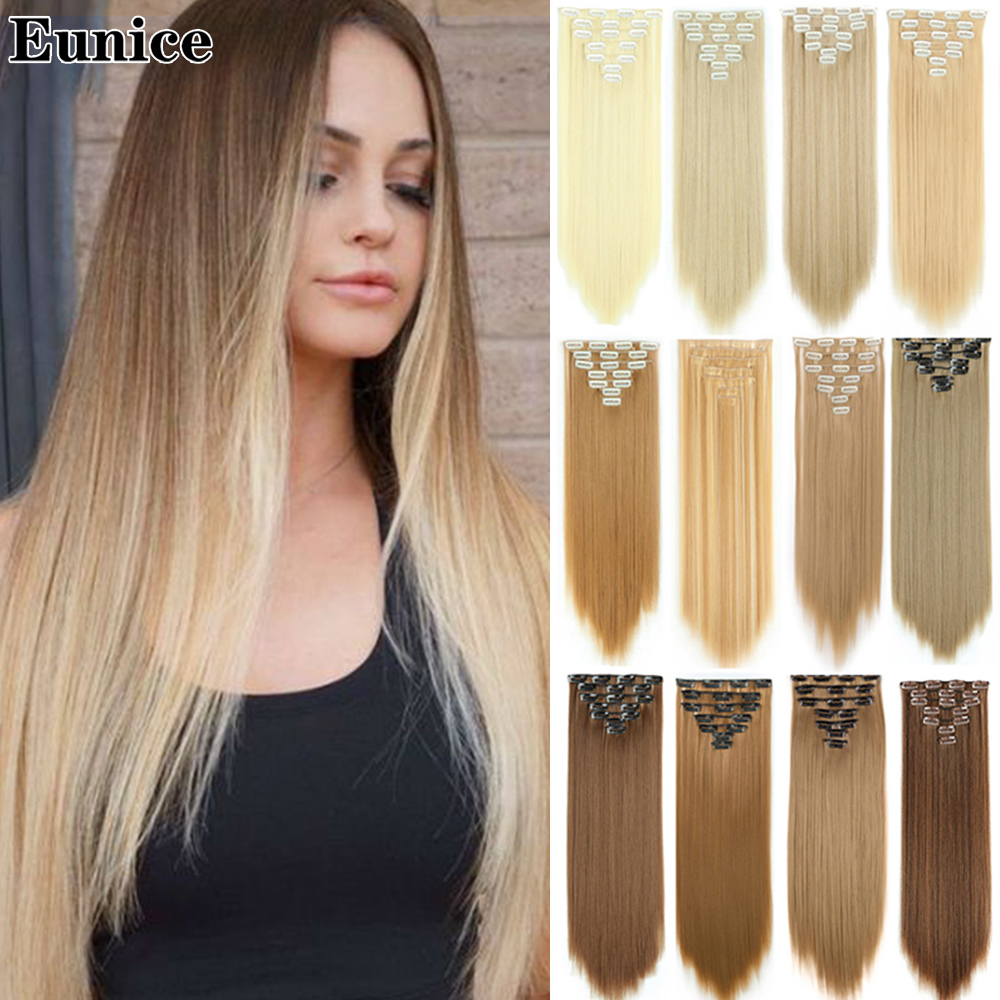 22 дюйма пряди для волос 120 г прямые волосы 7 шт./компл. накладные волосы для укладки синтетические волосы на заколках для наращивания термост...