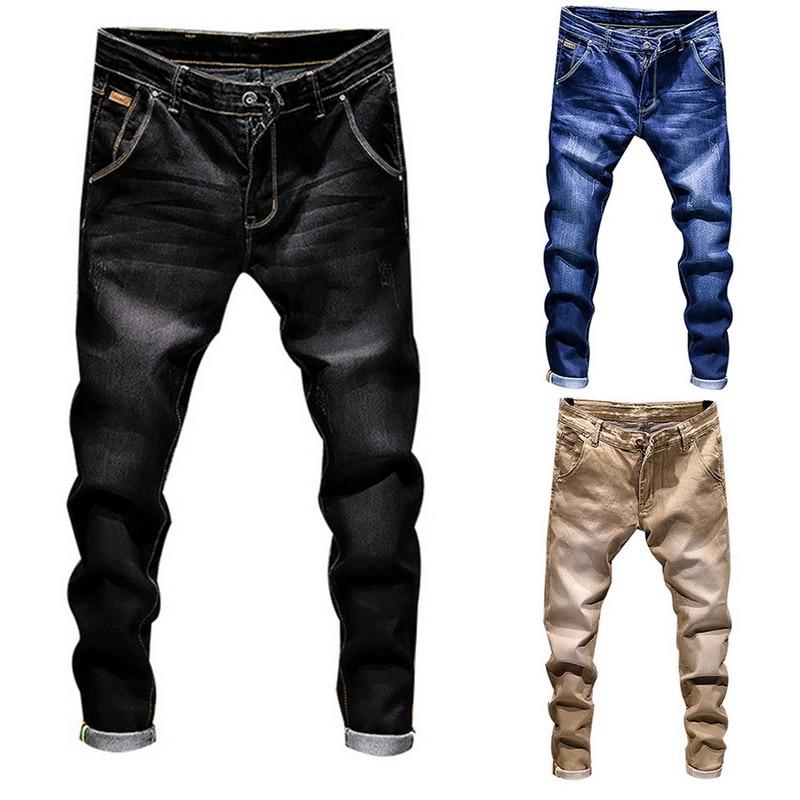 2019 New Stretch Denim Pants Solid Slim Fit Jeans Men Casual Biker Denim Jeans Male Street Hip Hop Vintage Trouser Skinny Pant