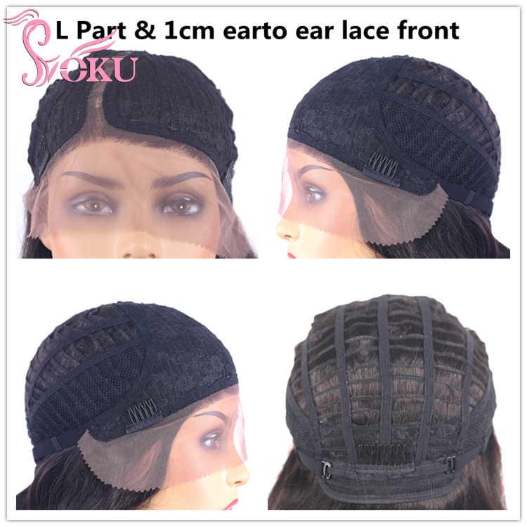 SOKU Ombre Abu-abu Sintetis Wig Glueless Lace Front Wig Panjang Berombak Rambut Trendi Fashion Wig untuk Putih Hitam Wanita Cosplay penggunaan Sehari-hari