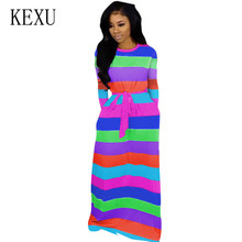 KEXU Women Vintage Maxi Dress Long Sleeve O Neck Rainbow Striped Beach Elegant Female Casual Retro Floor-length Dresses