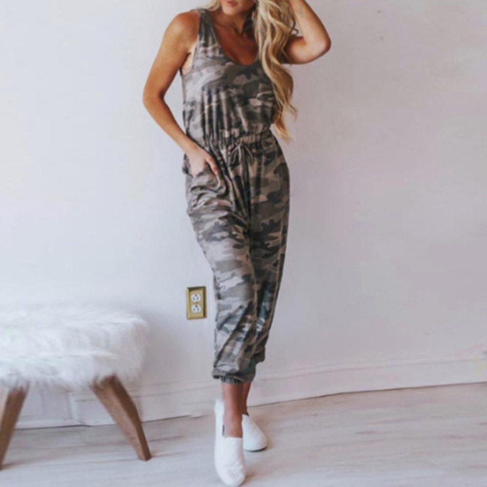 Sexy Sleeveless Jumpsuit Women's Casual Fashion Sexy Trend Jumpsuits Camouflage Drawstring High Waist Overall