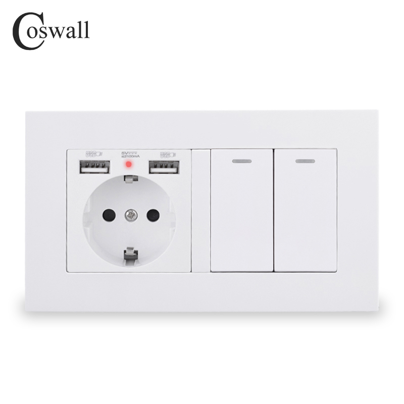 COSWALL EU Standard Wall Socket Grounded With 2 USB Charge Port Hidden Soft LED   2 Gang 1 Way On   Off Light Switch PC Panel