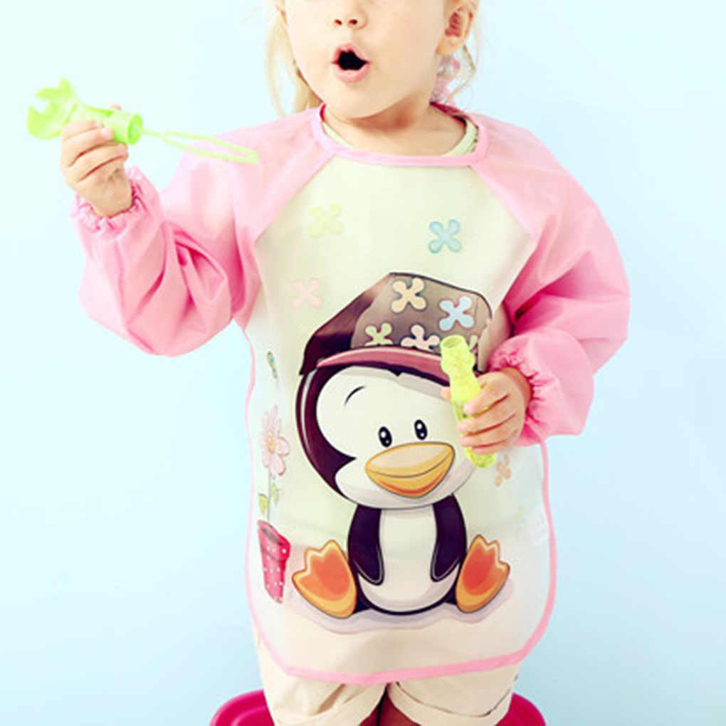 かわいいベビービブ防水長袖エプロン子供給餌スモックよだれかけげっぷ服ソフト幼児摂食ビブ