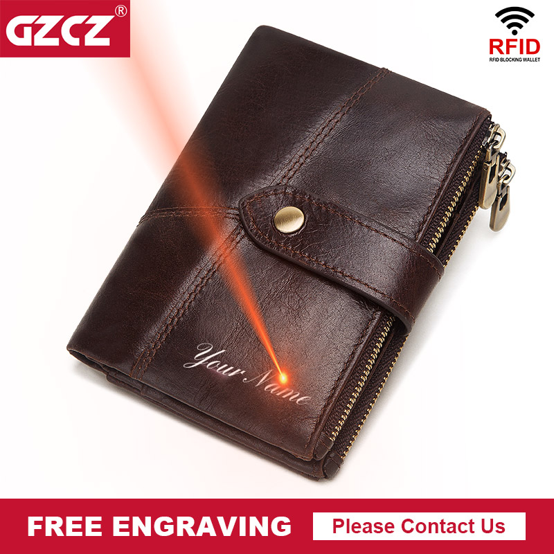 GZCZ Rfid 100% Genuine Leather Men Wallet Coin Purse PORTFOLIO Male Portomonee Money Bag Quality Designer Free Engrave Wallet