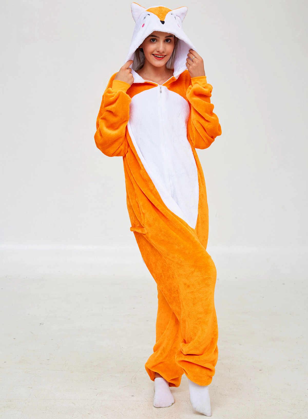 Pijamas de animales de franela de las mujeres de dibujos animados de la vaca Onesie ropa de dormir bot/ón abajo con capucha de una sola pieza ropa de sal/ón pijama mono