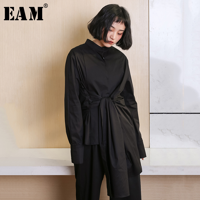 [EAM] Women Black Bandage Asymmetrical Temperament Blouse New Lapel Long Sleeve Loose Fit Shirt Fashion Tide Spring Autumn 2020