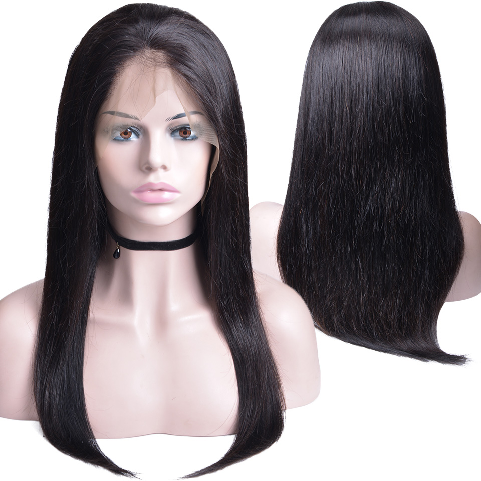 360 Peruvian Straight Lace Frontal Wig With Baby Hair Natural Color Non Remy Hair Lace Wig Human Hair Wigs For Black Women