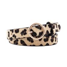 Мода Леопард ремень женская змея печати зебры конского волоса тонкий пояс PU кожаный Золотой пряжки кольца для женщин Женский