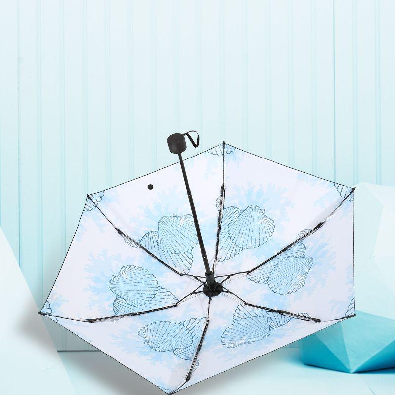 Small Mini Small Five-fold Umbrella UV-Protection Parasol Rain Or Shine Dual Purpose Vinyl Sun-resistant Parasol Can Be Printed