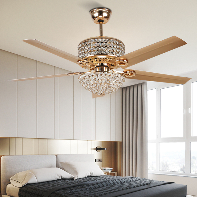 Mega Deal Bdd251 Led Ceiling Fan Country Retro European Style Iron Leaf Light Luxury Bedroom Living Room Crystal Ceiling Fans With Lights Cicig Co