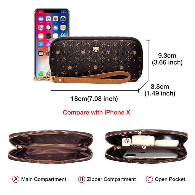 FOXER Kulit PVC Pencetakan Wanita Tas Genggam Tas Kapasitas Besar Wanita Uang Penyimpanan Tas Wanita Tas Dompet Klasik Ponsel Dompet