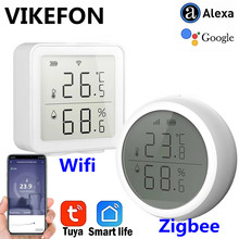 Tuya Smart life Zigee or WIFI Temperature And Humidity Sensor Indoor Hygrometer Smart Home Thermometer Detector With LCD Display