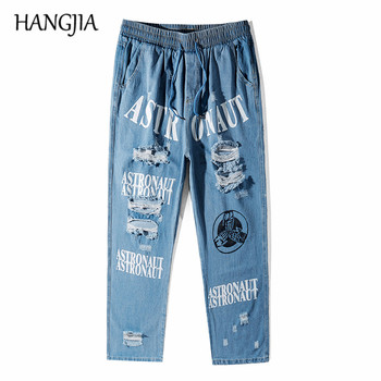 Hip Hop Ripped Jeans for Men Vintage Distressed Wash Hole Jeans Trousers Blue Letter Print Straight Denim Trousers