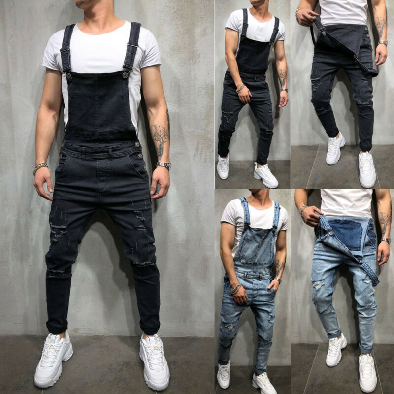Men's Distressed Denim Carpenter Overalls Bib Jumpsuits Moto Biker Jean Pants Men's Bib Trousers