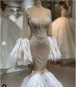 Image 2 - Real Image Luxury Mermaid Feather Evening Dresses Beaded Sequined Flare Full Sleeves Sexy Prom Gowns 2020 Formal Dress