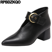 Pointed Toe Black Size 4 34 Medium Heels Block Belts Ankle Boots Wine Red High Mary Jane Pumps Fashion Brand Women Shoes 2019