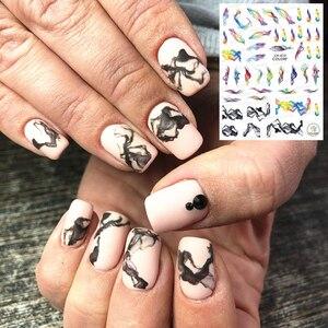 Nueva serie de letras CA-613 dibujos animados de humo diseños coloridos 3d nail art pegatina adorno de uñas Accesorios