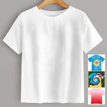 T-Shirt manches courtes col rond Femme Blanc, bricolage, teinture par nouage, couleur unie, taille haute, Slim, Sport