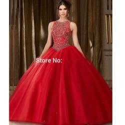 Quinceanera vermelho vestidos de baile scoop tule frisado cristais baratos doce 16 vestidos