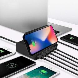 QI 10W bezprzewodowa ładowarka USB szybkie ładowanie 3.0 typ C Multi HUB stacja szybkiego ładowania Adapter dla iPhone Sumsung Xiaomi w Ładowarki do telefonów komórkowych od Telefony komórkowe i telekomunikacja na
