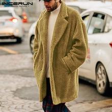Fake Fleece Men Jackets Coats Long Sleeve Fashion Button Outerwear Winter Solid Warm Fluffy Overcoat 2019 INCERUN S-5XL