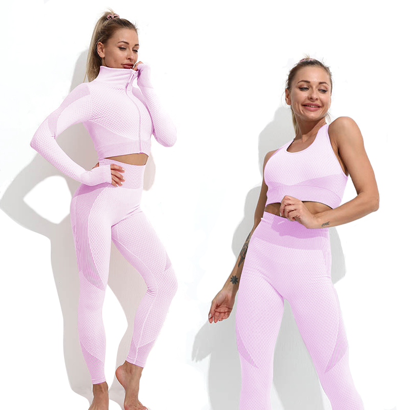 Yoga Set Workout gym clothing fitness for Women's tracksuit outfit leggings Sport bras top Long sleeve Women Sportswear Suit 5