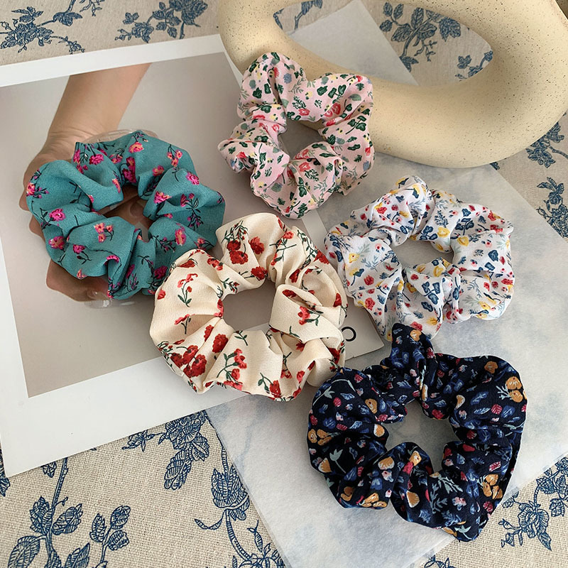 New 11colors Vintage Korea Fabric Hair Scrunchie Elastic Hair Bands Floral Women Girls Headwear Ponytail Holder Hair Accessories