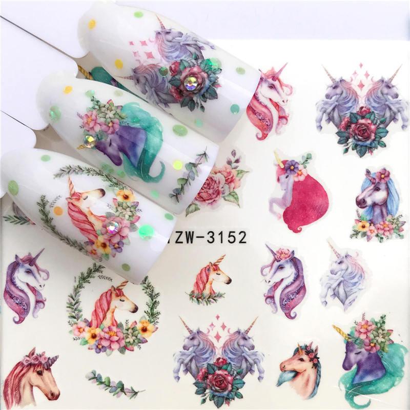 WUF 1 Sheet  Deer/Horse Flower Water Transfer Nail Sticker Decals Beauty Decoration Designs DIY Color Tattoo Tip