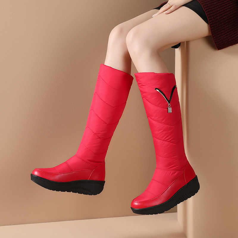 FEDONAS klasik aşağı kadın büyük boy takozlar kar botları kış sıcak Metal kadın diz yüksek çizmeler rahat ayakkabılar kadın uzun çizmeler