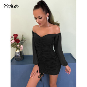 Image 4 - Pofash Ruched Off Shoulder Autumn Dresses Women Sexy V Neck Backless Drawstring Puff Sleeves Mini Dress 2020 Solid Bodycon Dress