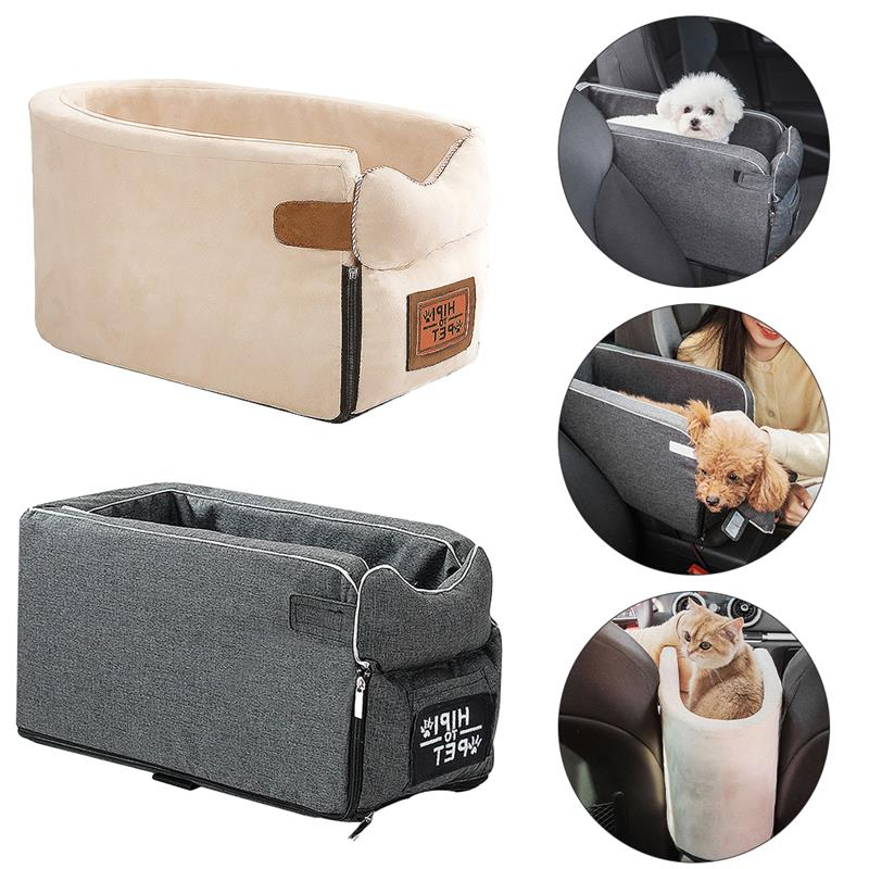 Dog Car Seat Pet Carrier Universal Armrest Box Nonslip Quilted Pet Car Carrier Bags For Small Dogs Outdoor Travel Pet Supplies