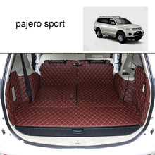 Lsrtw2017 Leather Car Trunk Mat Cargo Liner for Mitsubishi Challenger Mitsubishi Pajero Sport 2008-2016 2015 2014 Pajero Dakar liandlee car tracing cauda laser light for mitsubishi pajero sport pajero dark 2008 2015 anti fog lamps rear lights