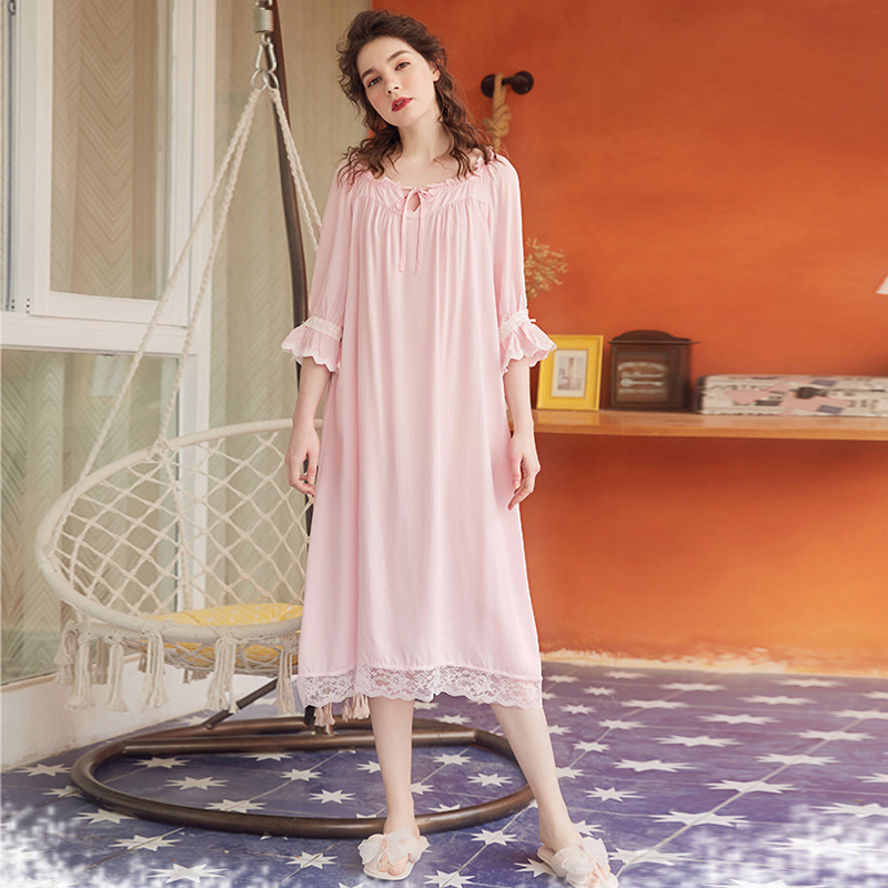 Roseheart Spring <font><b>Women</b></font> Fashion <font><b>Blue</b></font> <font><b>Pink</b></font> Cotton <font><b>Sexy</b></font> Homewear Sleepwear Strap Night <font><b>dress</b></font> Lace Nightwear Nightgown image