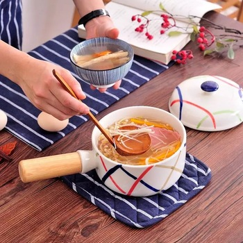 FANTERCY Cookware Casseroles Japanese Simple Creative Bamboo Handle Hot Insulated Food Salad Noodle Ceramic Bowl Large Trumpet