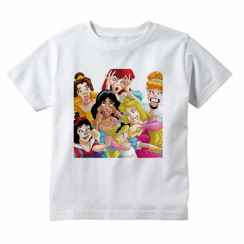 Funny Princess Party Prints T Shirt Little Girls Tops Summer Kids T-shirt for Girl 2019 Fashion Camiseta Princesas,BAL021