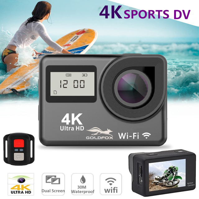 "4K WiFi Action Camera 2.0"" Touch Screen 12MP 170D Sports Camera 30M Go Waterproof Pro Heltmet Video Recording Camera 1"