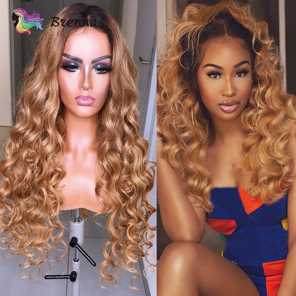 Ombre Loose Wave Lace Front Wig 1b27 Light Brown 13x6 Lace Front Wig Brazilian Human Hair Lace Wig Bleached Knots Non-Remy Hair