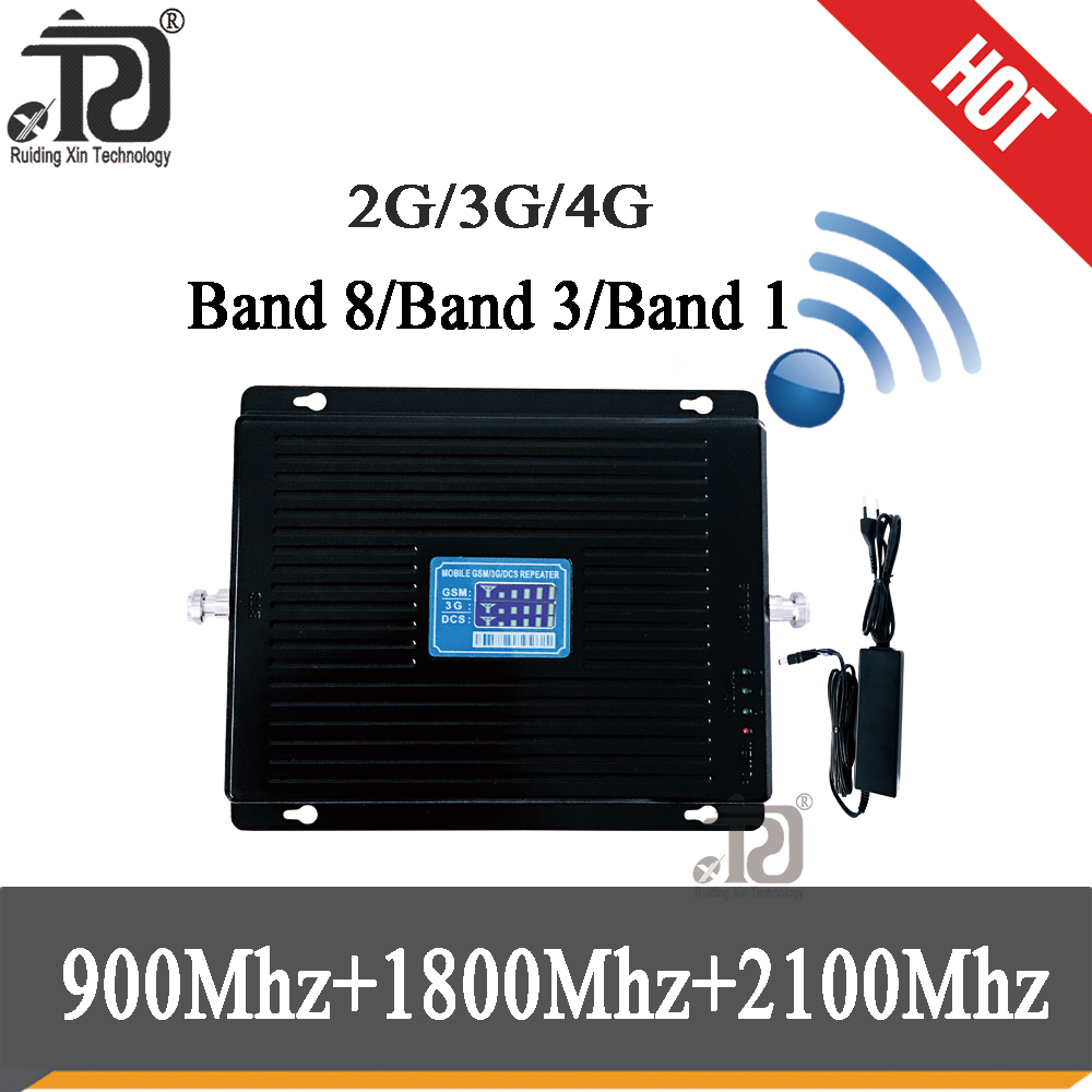 2g 3g 4g Tri Band Signal Booster900 1800 2100mobile Signal BoosterGSM WCDMA UMTS LTE Cellular Repeater900/1800/2100mhz Amplifier