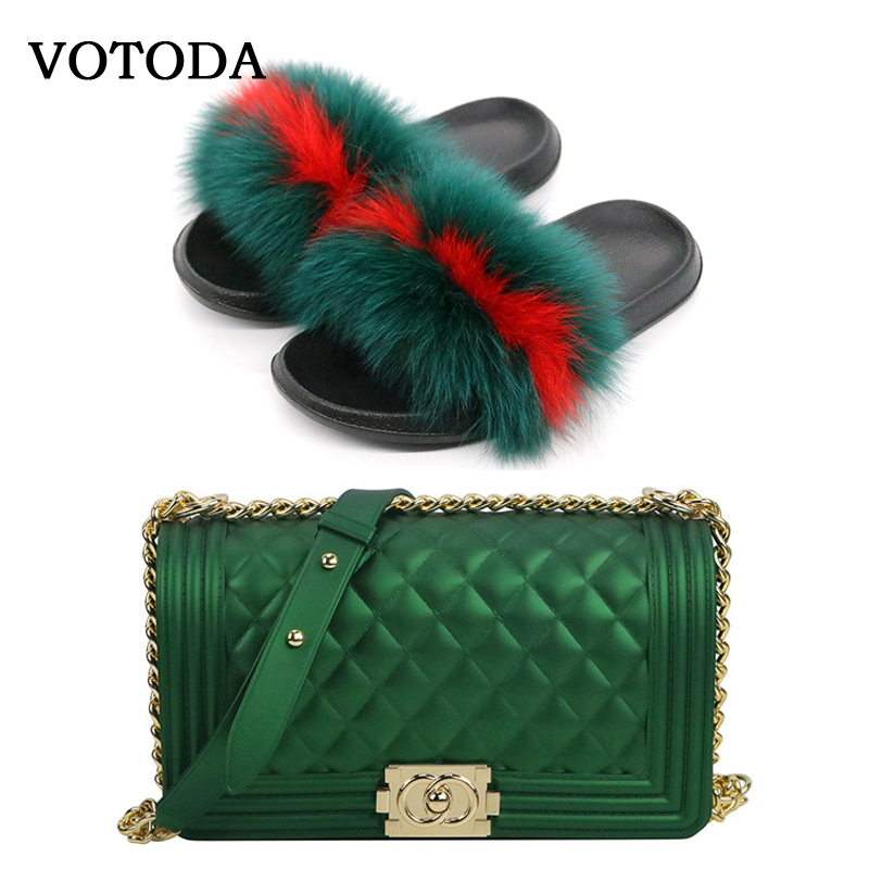 Fluffy Women Fur Slippers Set-Handbag Furry Real Fox Fur Slides Shoes Rainbow Colorful Jelly Shoulder Bag Candy Crossbody Purse
