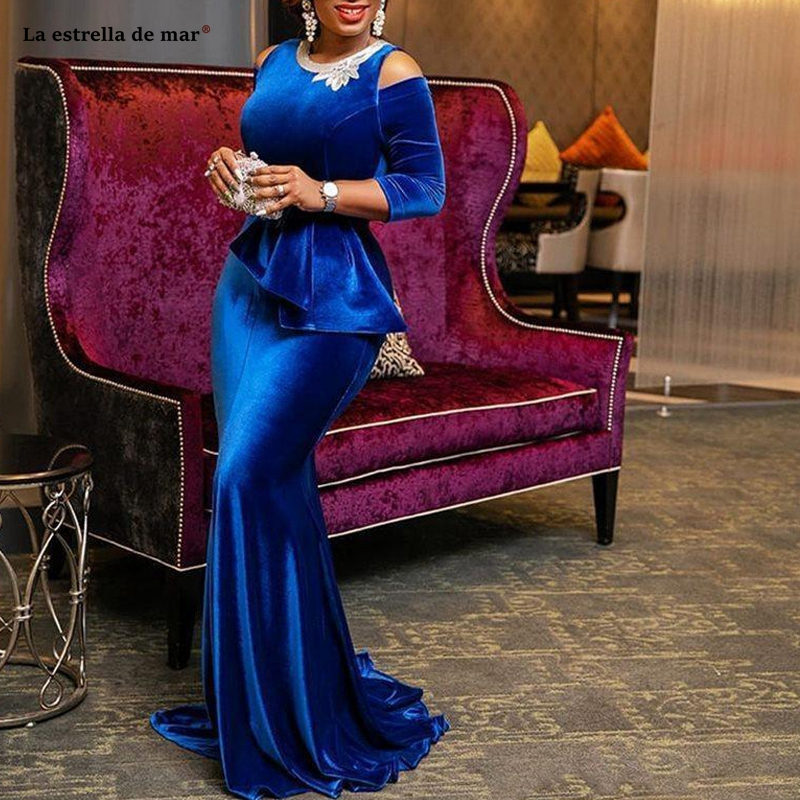 Royal Blue South African Mermaid Evening Dresses Cold Shoulder Long Sleeves Formal Prom Gowns Velvet Rhinestones Pageant Party