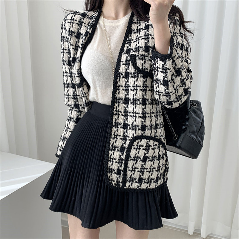 Alien Kitty New 2020 Plaid Wool Chic All-Match Office Lady Casual Loose Sweet Autumn Feminine Plus Size Vintage Stylish Blazers