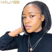 Kalyss 10 polegadas limonada cornrow trançado perucas 13x7 frente do laço perucas caixa sintética tranças peruca com cabelo do bebê para preto