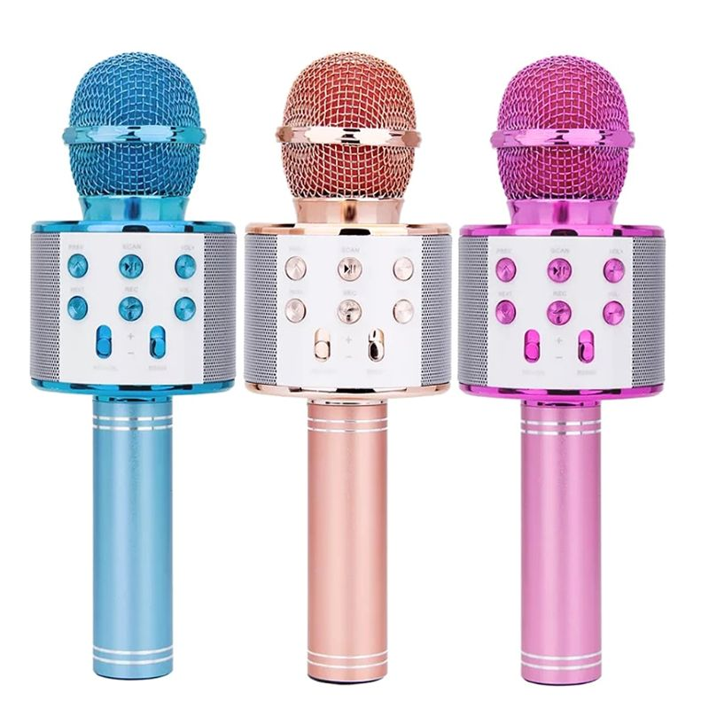 WS-858 Wireless Bluetooth Karaoke Condenser Microphone Speaker Player KTV Music
