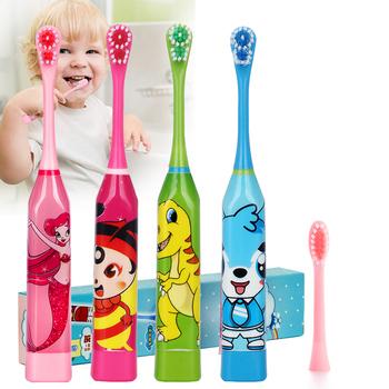 Cartoon wzór elektryczne szczoteczki do zębów dla dzieci dwustronne końcówki do szczoteczki elekryczna szczoteczka do zębów lub wymienne główki do szczoteczki dla dzieci tanie i dobre opinie TackOre CN (pochodzenie) 1 Pack Fala akustyczna JJM-Cartoon ABS DuPont Toothbrush with 2 brush head Or 1 Set Brush Heads