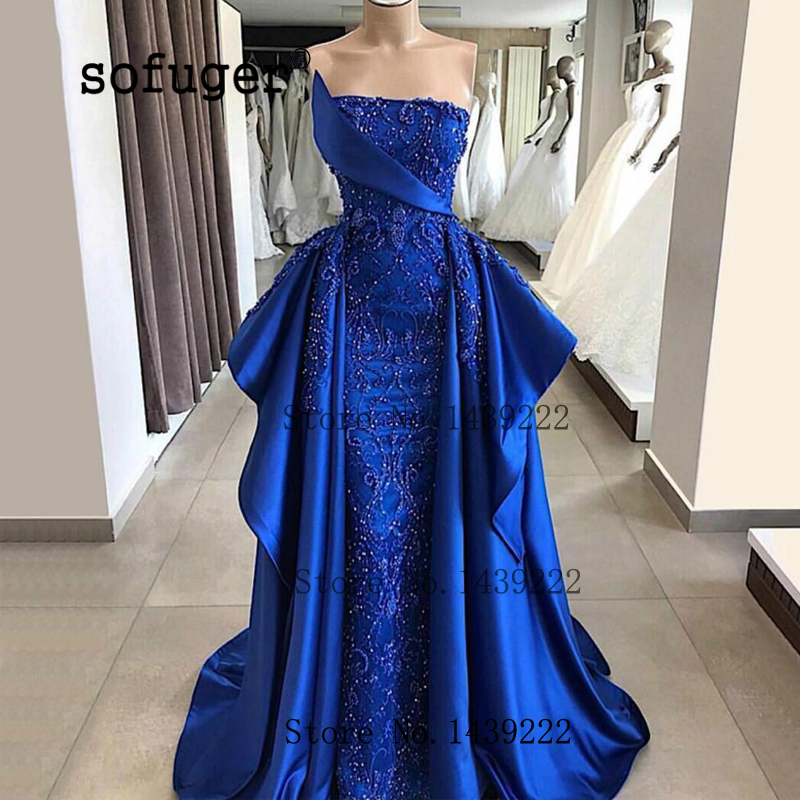 Sofuge Blue Ruffles Muslim Evening Dresses Prom Satin Appliques Vestidos De Fiesta De Noche Robe De Soiree Plus Custom Made
