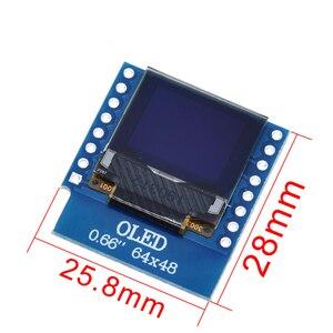 "Image 2 - TZT 0.66 אינץ OLED תצוגת מודול עבור WEMOS D1 מיני ESP32 מודול Arduino AVR STM32 64x48 0.66 ""LCD מסך IIC I2C OLED"