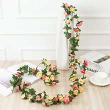 2.5M Artificial Flowers Rattan Small Peony String Decor Silk Fake Garland For Wedding Home Party Decoration Wedding Supplies