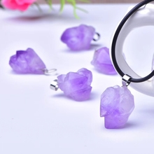 Newly Natural Lavender Amethyst Quartz Purple Crystal Raw Material Pendant Fashion 23x17mm Healing Stone Necklace AAAA